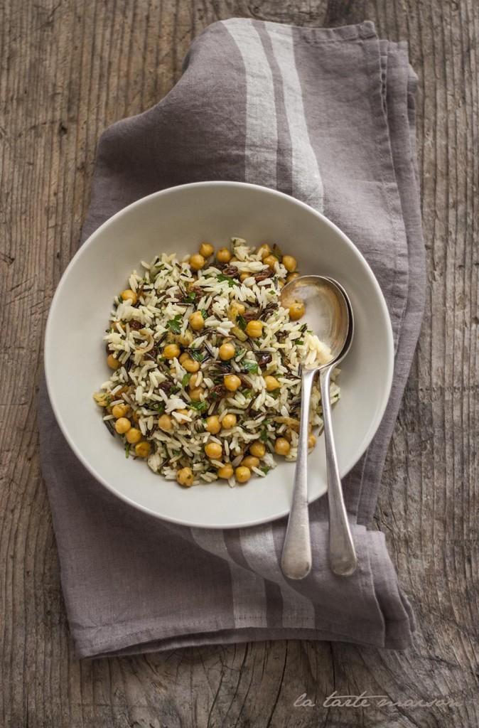 Insalata di riso, ceci e uvetta