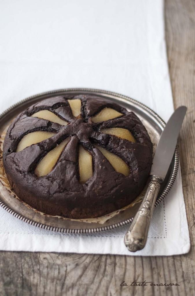 Torta cacao e pere sciroppate la tarte maison