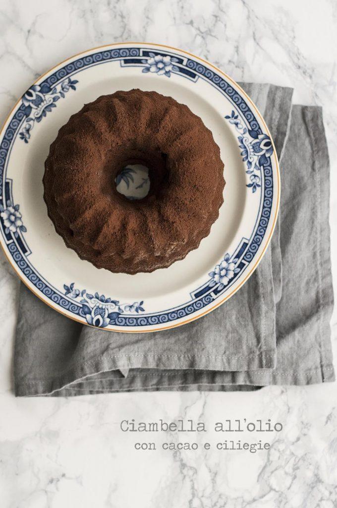 Ciambella olio cacao e ciliegie